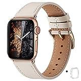 WFEAGL コンパチブル Apple Watch バンド,は本革レザーを使い、iWatch SE、 Series 6/5/4/3/2/1、Sport、Edition向けのバンド交換ストラップです コンパチブル アップルウォッチ バンド (38mm 40mm, アイボリーホワイト バンド+ゴールド 四角い バックル)