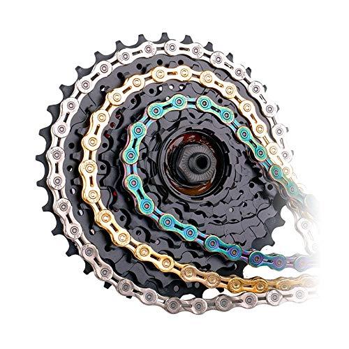 NICOLIE Cadena De Bicicleta 9/10/11 Velocidad con Conector Eslabones Maestros Cadena De Bicicleta MTB Hueca Alicates Opcionales Radiantes Dorados - 9S SV Medio Hueco