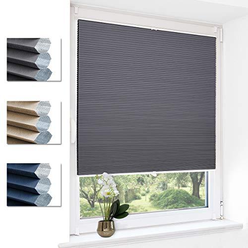 Deswell Verdunklungsplissee ohne Bohren waben plissee klemmfix für Fenster & Tür, Sonnen-, Sicht- & Schallschutz Weiß-Grau 90x130cm