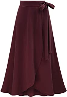 209139db81 Les umes Women's Knit Elastic High Waist Midi Length A-Line Flare Flowy  Skirts