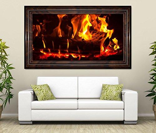 3D Wandtattoo Feuer Lagerfeuer Kamin Flamme Holz selbstklebend Wandbild Tattoo Wohnzimmer Wand Aufkleber 11L512, Wandbild Größe F:ca. 97cmx57cm