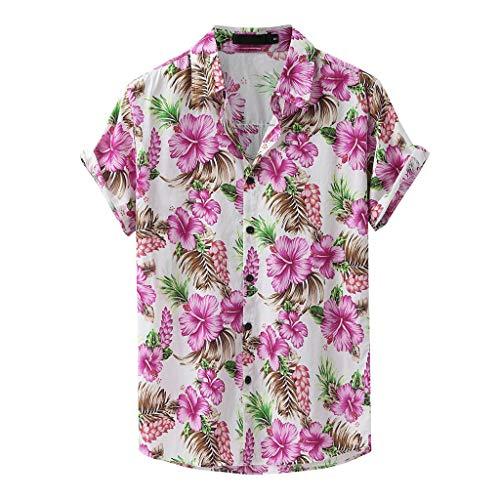 Yowablo Chemises Hommes Mode Imprimé Col Rabattu Manches Courtes Décontracté (S,2Rose)