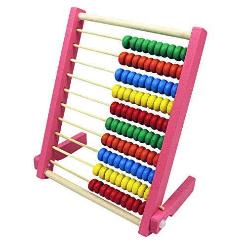 MAGIKON Wooden Counting Number Frame , 10 Rows Abacus for Kids Learning Math (6-4/5-Inch) Pink
