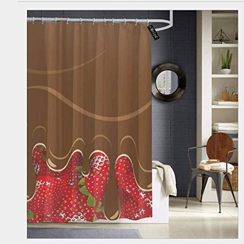 Aardbeien met gesmolten chocolade zoetwaren fruit zoete lekkernijen eten kunst waterdichte douchegordijn - water, zeep, en - machine wasbaar - douche haken zijn inbegrepen voor badkamer 72 x 72 inch
