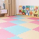 E.enjoy-Suelos de Gimnasio Enclavamiento Soft Kids Baby EVA Foam Activity Play Mat Baldosas Espesar 1.2cm (Color : Blue+Pink+Beige, Size : 16 Piece)