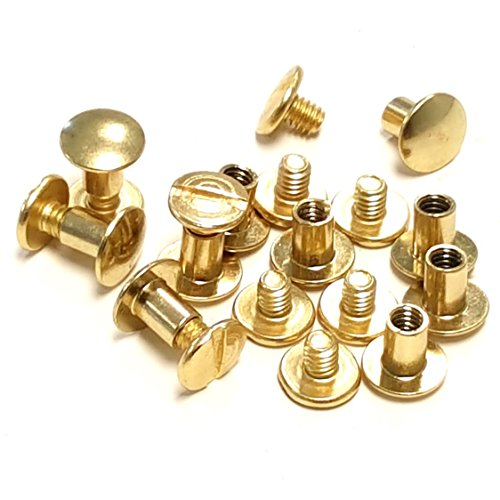 10 pack 1/4' Brass Plated Gold Chicago Screws Leather Repair Screw Post Fastener