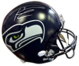 Signed Russell Wilson Autographed Seattle Seahawks Riddell Football Helmet In Silver RW Holo Stock #74633