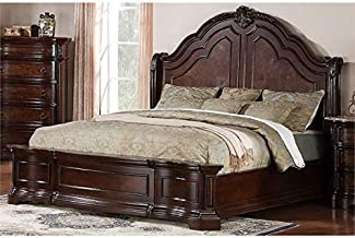 Samuel Lawrence Edington King Sleigh Bed with Rails in Brown