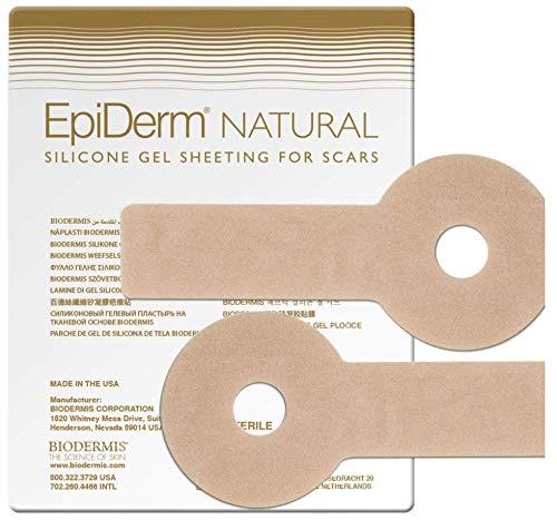 BIODERMIS Epiderm Natural Narbenpflaster Areopexy aus hautfarbenem Silikon 1x2St, Selbstklebend, Zur Narbenpflege nach Lejour Brust OP und um alte Narben zu verbessern