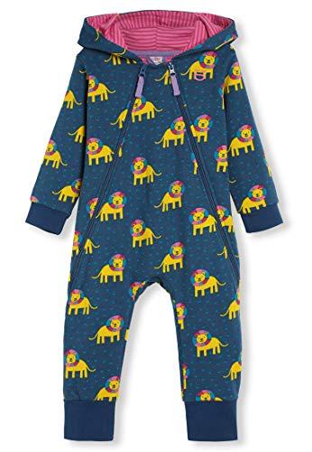 kIDio Bio-Baumwolle Kuschelanzug mit Kapuzen - Baby Mädchen Junge (0-2 Jahre) (18M (12-18 Monate), Blau Löwe)