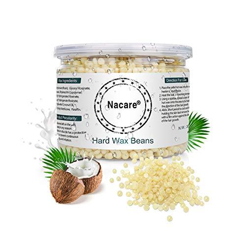Nacare Hartwachs Bohnen Non-Strip Allzweckwachs Schmerzfreie sanfte Haarentfernung für Männer und Frauen mit Kokosöl 300G