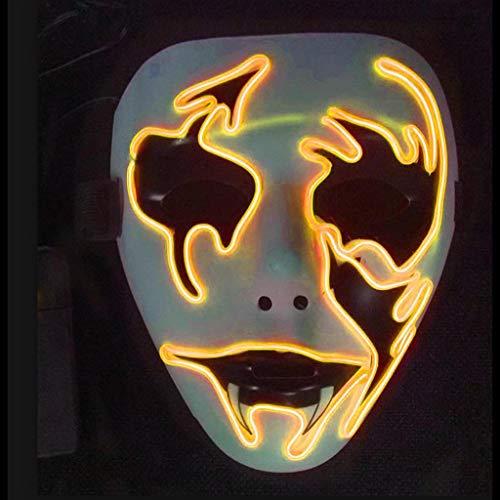 LWWOZL Máscaras LED de Halloween, Disfraz Terrible for Fiestas de Carnaval de Cosplay de Halloween Batería con alimentación (incluida) / Duradera (Color : D)
