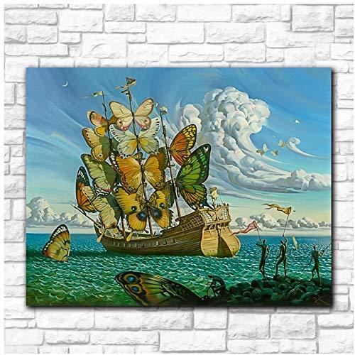 Yxjj1 Arte de pared de moda Salvador Dali Pintura Mariposa Barco Imágenes de pared para sala de estar Decoración del hogar Pinturas impresas -16x24 pulgadas Sin marco