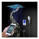 Juego combinado de ducha LED de 64 colores con cabezal de ducha de 16 pulgadas, ducha de mano, grifo de bañera, válvula de ducha inteligente, control remoto