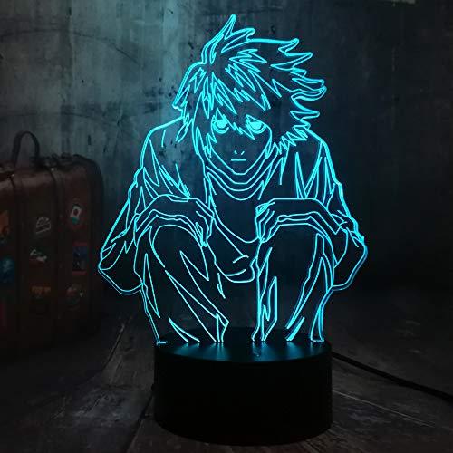 Film Anime Comic Death Note Action Personaggio Rilevatore L Lawliet 3D LED Luce notturna Multicolore, Lampada da Scrivania Camera da Letto Decorazione Luce Notturna Bambino Giocattoli
