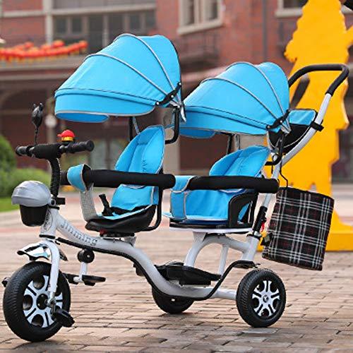 Zweisitziges Kinderdreirad, 3-6 Jahre Alter Kindersitz, Schubdreirad, Doppelte Markise, Bruchsicheres Reifendreirad, Dreirad Aus Kohlenstoffstahl Tricycle,Blau