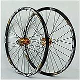 YZU Rueda de bicicleta de montaña 26/27.5/29 pulgadas, juego de ruedas de doble pared, rueda de inercia sellada, rodamiento de freno de disco QR 7-11, dorado, 26 pulgadas