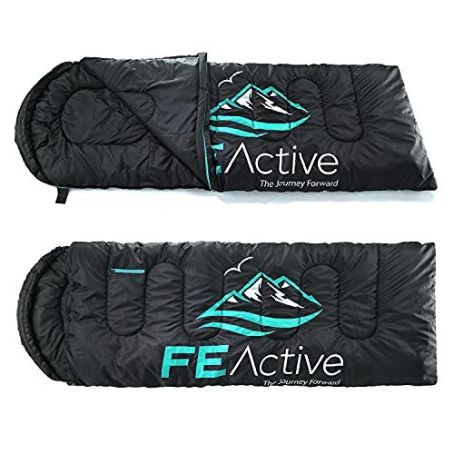 FE Active – Schlafsack 3-4 Jahreszeiten mit Kapuze, Extra lang 228 cm x 78 cm, wasserabweisender Schlafsack für Abenteuer im Freien, Camping, Rucksackurlaub, Wandern | In Kalifornien entworfen