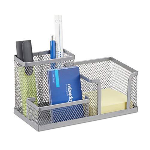 Relaxdays Schreibtischorganizer, Büroablage mit Stiftehalter und Zettelhalter, Metall Mesh, HBT: 10x18,5x9,5cm, silber