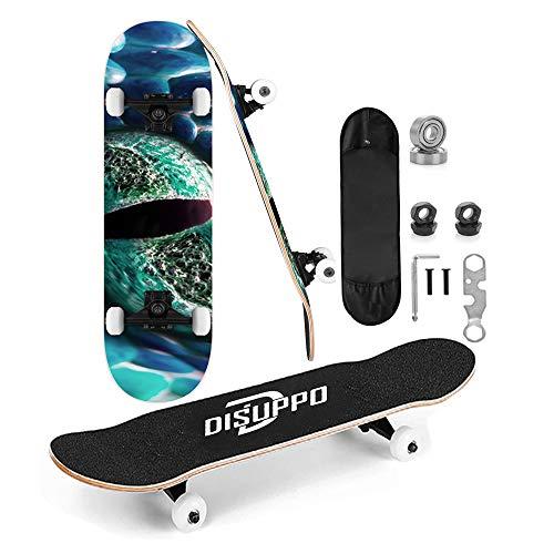DISUPPO Skateboards für Erwachsene, 79×21cm Skateboard für Mädchen, Jungen, Anfänger, 7-lagiges A-Level Maple Double Kick Concave Standard und Tricks Skateboards (UniverseEye)