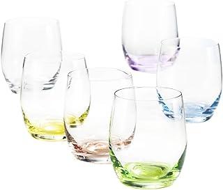 6 Verres à Eau/Whisky/Cocktail en Cristal de Couleur - Service Color 30 cl - 6 Couleurs Pastels Assorties - Maison Klein -...