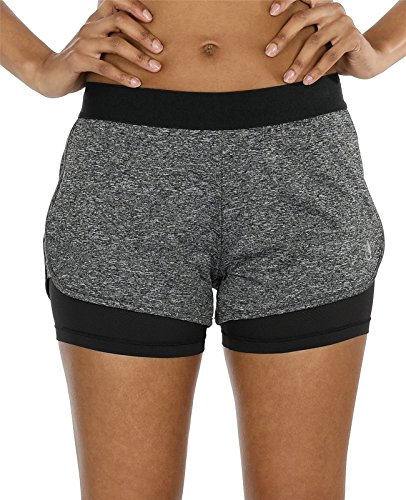 icyzone Damen Kurze Sport Hose Running Gym Workout Shorts 2 in 1 (Charcoal,M)