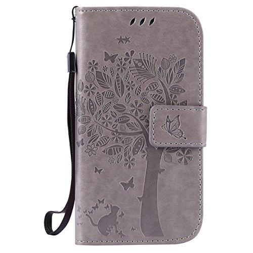 ISAKEN Kompatibel mit Galaxy S3 Hülle, PU Leder Geldbörse Wallet Hülle Ledertasche Handyhülle Tasche Schutzhülle Hülle mit Handschlaufe Strap für Samsung Galaxy S3 / S3 SIII Neo - Baum Katze Grau
