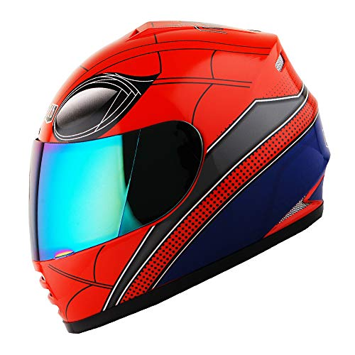 WOW Motorcycle Full Face Helmet Street Bike BMX MX Youth Kids Spider Red