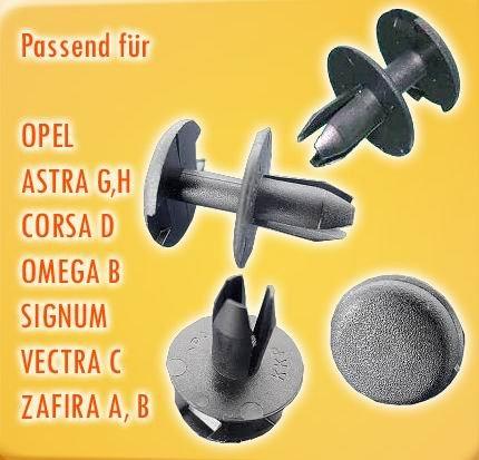 SPREIZNIETEN STOSSSTANGE PASSEND FÜR OPEL ASTRA G, H, CORSA D 10 STÜCK (67)