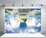 Haoyiyi 8x6ft Heaven Photography Backdrop Easter Gate of Paradise Holy Light Scene Background Celestial Stairway Sky Clouds Church Worship Adult Kids Artistic Portrait Photo Studio Props