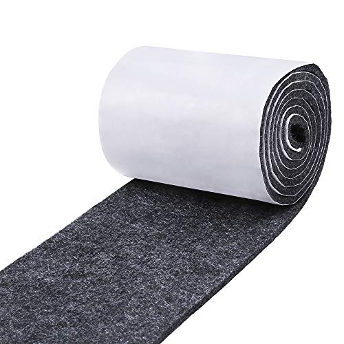 Pllieay 1 Pack Felt Tape in Self Adhesive, Dark Gray Polyester Felt Strip Roll 3.9 inch Wide x 59 inch Long x 0.15 inch Thick for Protect Furnitures, Hard Surface and Freedom DIY Adhesive