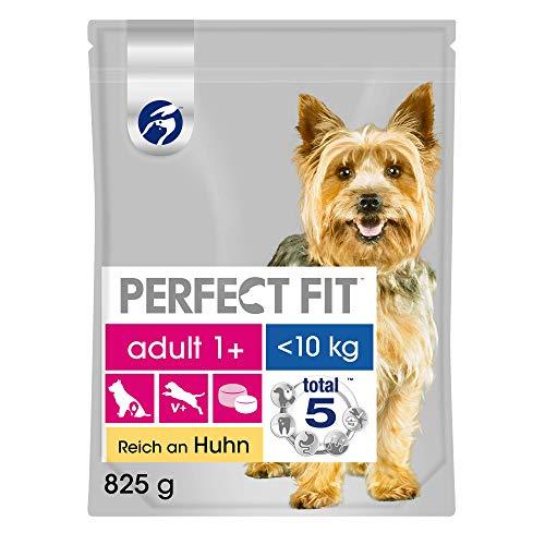 Perfect Fit Hundefutter Trockenfutter Adult für kleine Hunde <10kg 1+ reich an Huhn, 1 Beutel (1 x 825g)