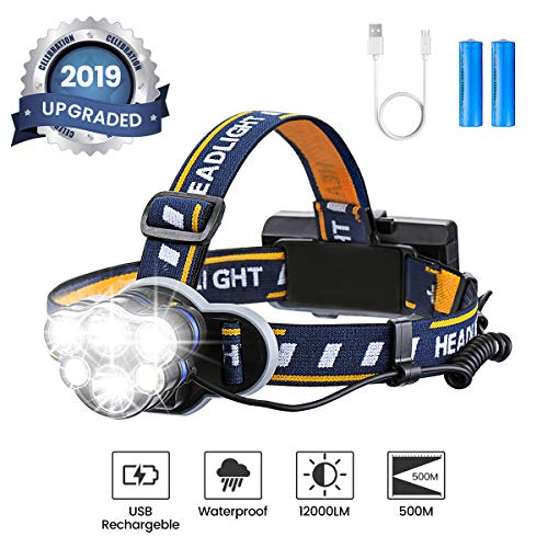 OUTERDO Lampe Frontale Super Lumineuse, Lampe Torche LED Rechargeable Lampe Frontale LED avec 6 LEDs 12000LM 8...