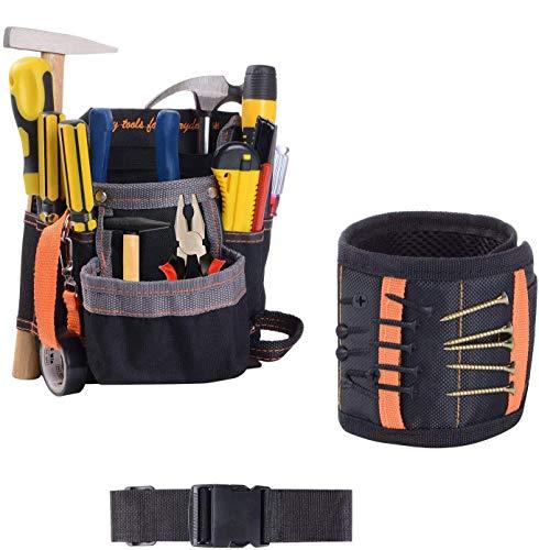 Werkzeuggürtel Werkzeugtasche Werkzeugbeutel für Werkzeugen aus robustem Nylon - Magnetisches Armband Magnetarmband mit 15 leistungsstarken Magneten für Schrauben