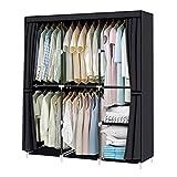 YOUUD Armario organizador de armario, armario, armario, portátil, con barra para colgar, 127 x 45 x 170 cm, color negro