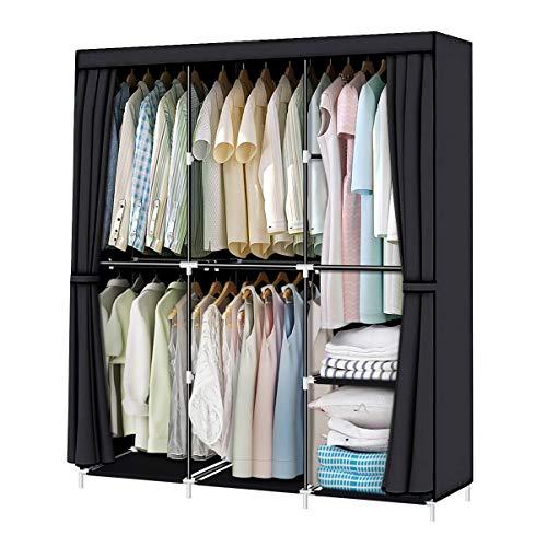 YOUUD Armario organizador de armario, armario, armario, portátil, con barra para colgar, 125 x 44 x 167 cm, color negro