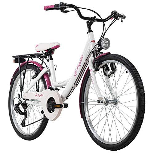 KS Cycling Kinderfahrrad 24'' Papilio weiß-pink RH 36 cm