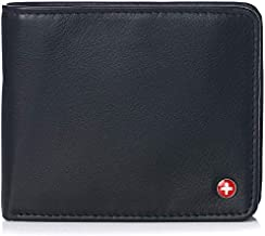 Alpine Swiss RFID Protected Men's Max Coin Pocket Bifold Wallet with Divided Bill Section Camden Collection Soft Nappa Black