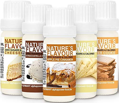 ALPHAPOWER FOOD Aroma alimentario - alimenticio, concentrado 1400{e8416be40ea686d6aa5131037939fcd65057175e32f179e1f486bc68377e2150}*, Súper pack ahorro 5x10ml, saborizante de alimentos - vegano, gotas aromatizantes y edulcorante sin azúcar, sabor líquido