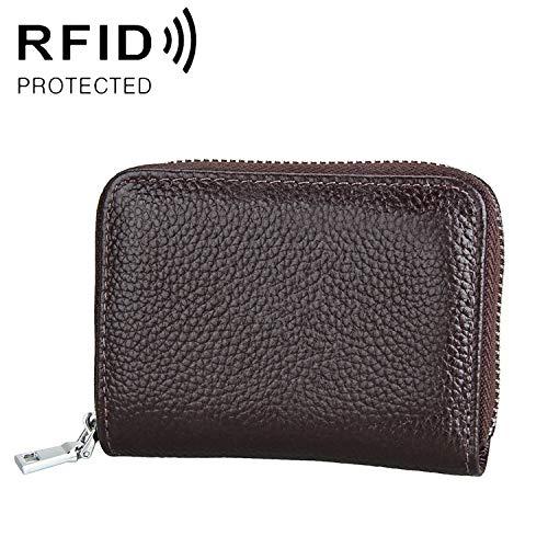 Cartera de Cuero antimagnético KB205 Simple antimagnético RFID Litchi Textura de Cuero con Cremallera de Gran Capacidad Titular de la Tarjeta Monedero, Adecuado for el Ocio de Negocios