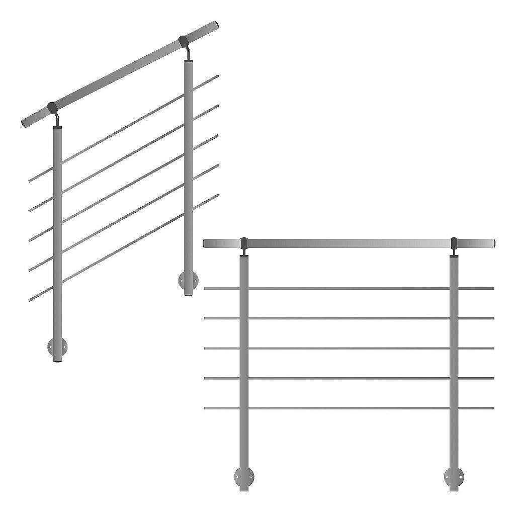 Barandilla para laterales montaje en escalera Balcón y terraza con horizontal Travesaños hasta 6 m am unidades): Amazon.es: Bricolaje y herramientas