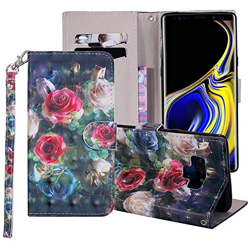 Wallet Phone Case for Samsung Galaxy S5 with Tempered Glass Screen Protector Cover and Cell Accessories Card Holder Stand Gel Protective Galazy S 5 Gaxaly 5s GS5 SV I9600 3D RoseFlower Leather Cases