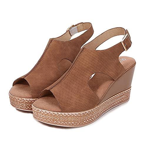 Nuevo2021 Mujer Sandalias de Tacón de Cuña para Zapatos de con Punta Abierta Plataforma de Cuero Sintético Zapatos de Verano de Ocio,Zapatos de playa,for Senderismo,Plus Size 35-43Brown-EUR 39/USA 8