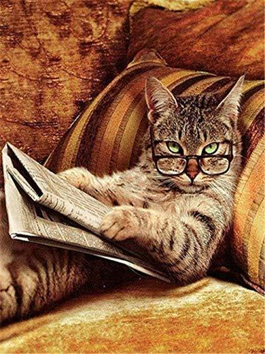 Kit de pintura al óleo de bricolaje Pintura en lienzo para adultos Niños Pintura por número Decoración para el hogar Pared El mejor regalo Gato tigre leyendo un libro - 40CMX50CM