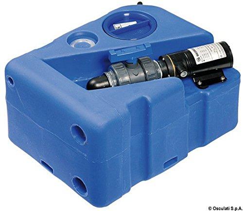 Osculati vuilwatertank 40 l met fecaliënafzuigpomp en verhakker, horizontale uitvoering, voldoet aan ISO 8099