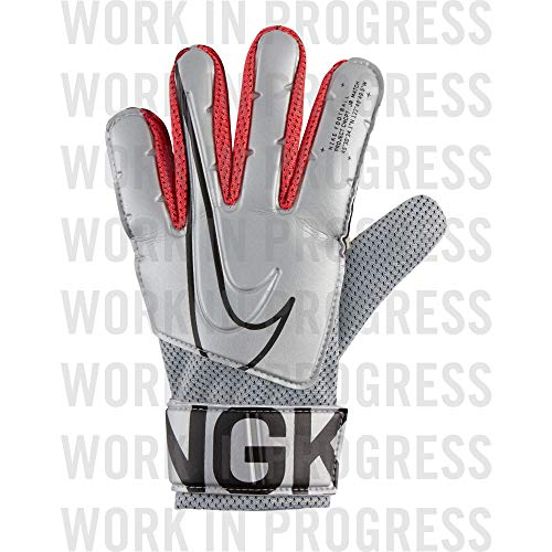 Nike Kinder NK GK Match JR-FA19 Soccer Gloves, metallic Silver/Laser Crimson/(Black), 7