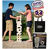 """Matty's Toy Stop Giant Wooden Tower Deluxe Stacking Game with Storage Bag (52 Pieces) 2 Ways to Play (Starts at 23"""" or 30"""")"""