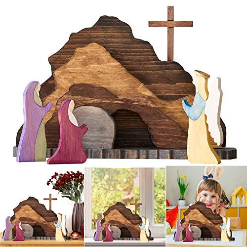 Easter Resurrection Scene, Easter Figurine Statue,Resurrection Scene,Secorative Wooden Nativity Set,Handcrafted Wooden Cross Resurrection Scene Decor (Ornaments)