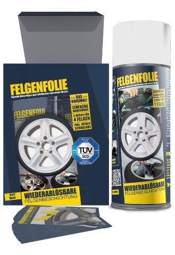 mibenco 61001402 FFELGENFOLIE set, 4 x 400 ml, mat wit, originele set van 4 - vloeibaar rubber/sproeifolie - kleur en bescherming voor de velgen lakken