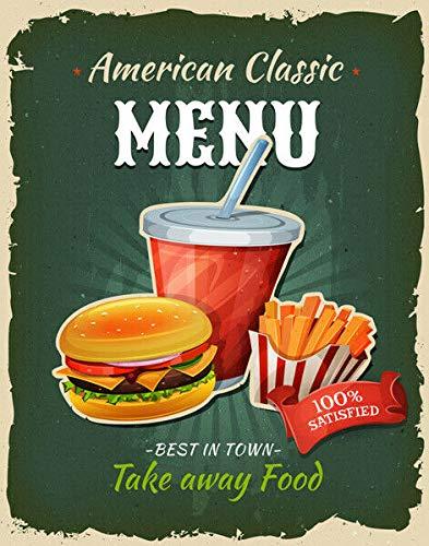 Placa Retro de Metal con Texto en inglés Fast Food Menu, diseño Retro con Texto en inglés Take Away Cafe Bar Bistro, 20,3 x 30,5 cm